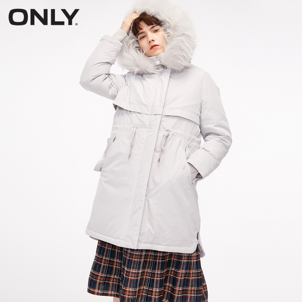 ONLY  Women's Big Fur Collar Straight Fit Long White Duck Down Jacket |118412509