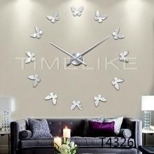 Schmetterling Form DIY Quartz Wanduhr 3D Spiegel Wandaufkleber Uhr Große Wohnkultur Große Uhr Horloge