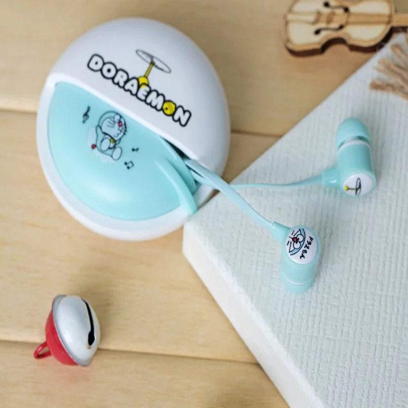 Cartoon Doraemon In Ear Earphones Music Earphone With Microphone Headset Earbuds With Storage Box Case For Iphone Samsung Xiao m400 3 5mm in ear bass earphones headphones music headset earbuds with microphone for iphone samsung xiaomi huawei htc mp3