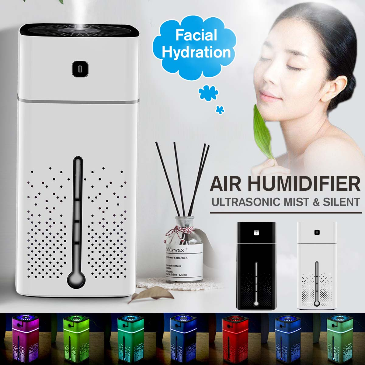 1000ML Ultrasonic Air Humidifier USB Diffuser Essential Oil 7 Color LED Night Light Mist Purifier Air Humidifier