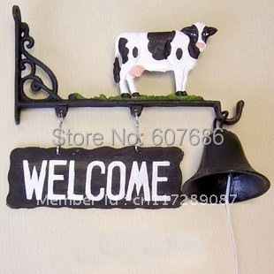 Cast Iron Hand Painted Bell of Welcome---Black & White Cow Metal Craft Home Wall Outdoor Decoration Dinner Bell Free Shipping
