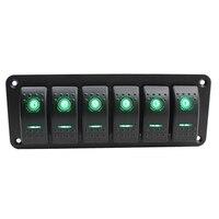 6 Gang Car Boat Marine Circuit Green LED Rocker Switch Panel Breaker 12V/24V