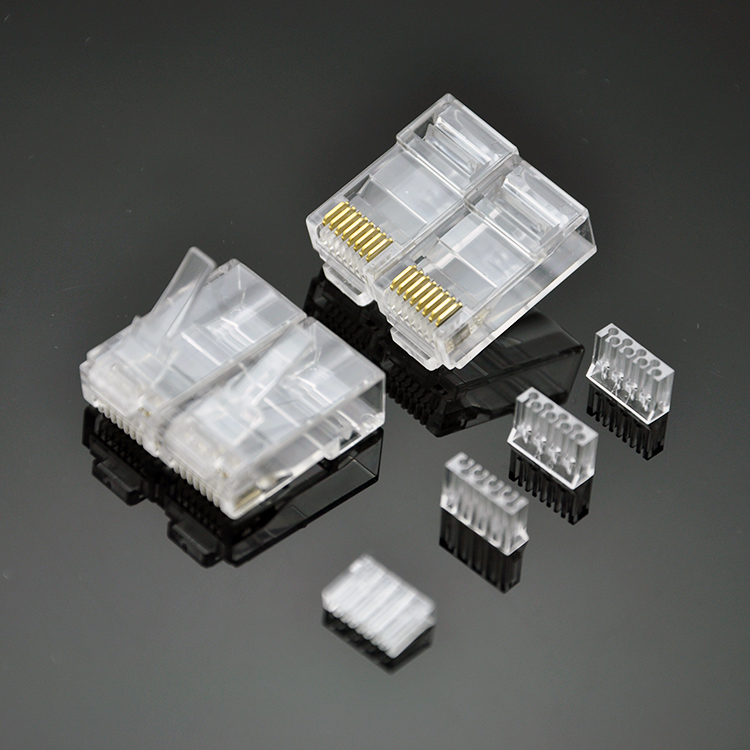 RJ45 CAT6 Modular Plugs UTP Ver. Includes Plastic Loading Bar For Wires Distribution - Three Prongs Blade