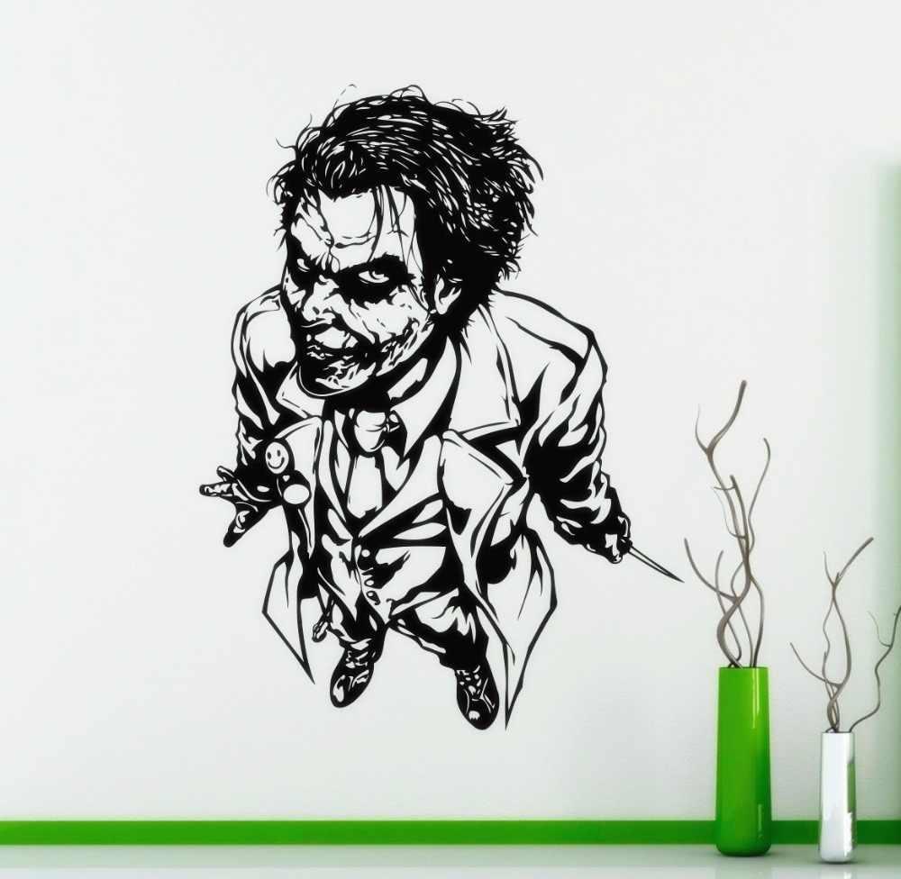 Superhero wall sticker joker vinyl wall decal home interior room decoration joker face wall art mural