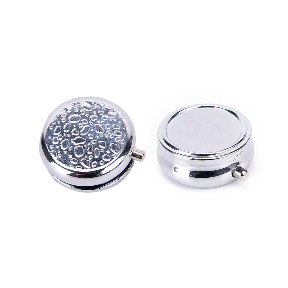 1Pc Small Cases Metal Round Silver Tablet Pill Boxes Holder Effective use of space Advantageous Container Medicine Case