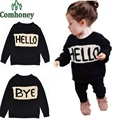 Mother and Daughter Clothes Long Sleeve Hello Bye Letter Print Mom&kids Sweater Winter Family Matching Clothes Family Outfits