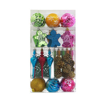 52Pcs Christmas Tree Hanging Ornaments Set Plastic Baubles Ball Pinecone Decoration Kit HG99