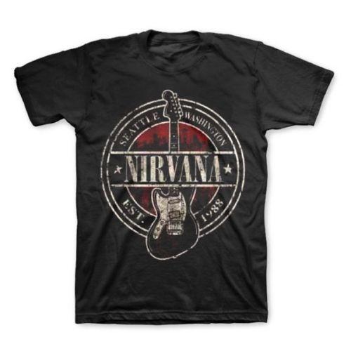 Nirvana t-shirt do Vintage Est 1988 selo guitarra música roupas Hip Hop T camisa de algodão Tshirt dos homens Euro tamanho S M L XL XXL XXXL