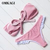 OMKAGI Brand Pink Velvet Bowknot Strapless Women Brazilian Bikinis Set Bikinis 2017 Patchwork Swimwear Bathing Suits