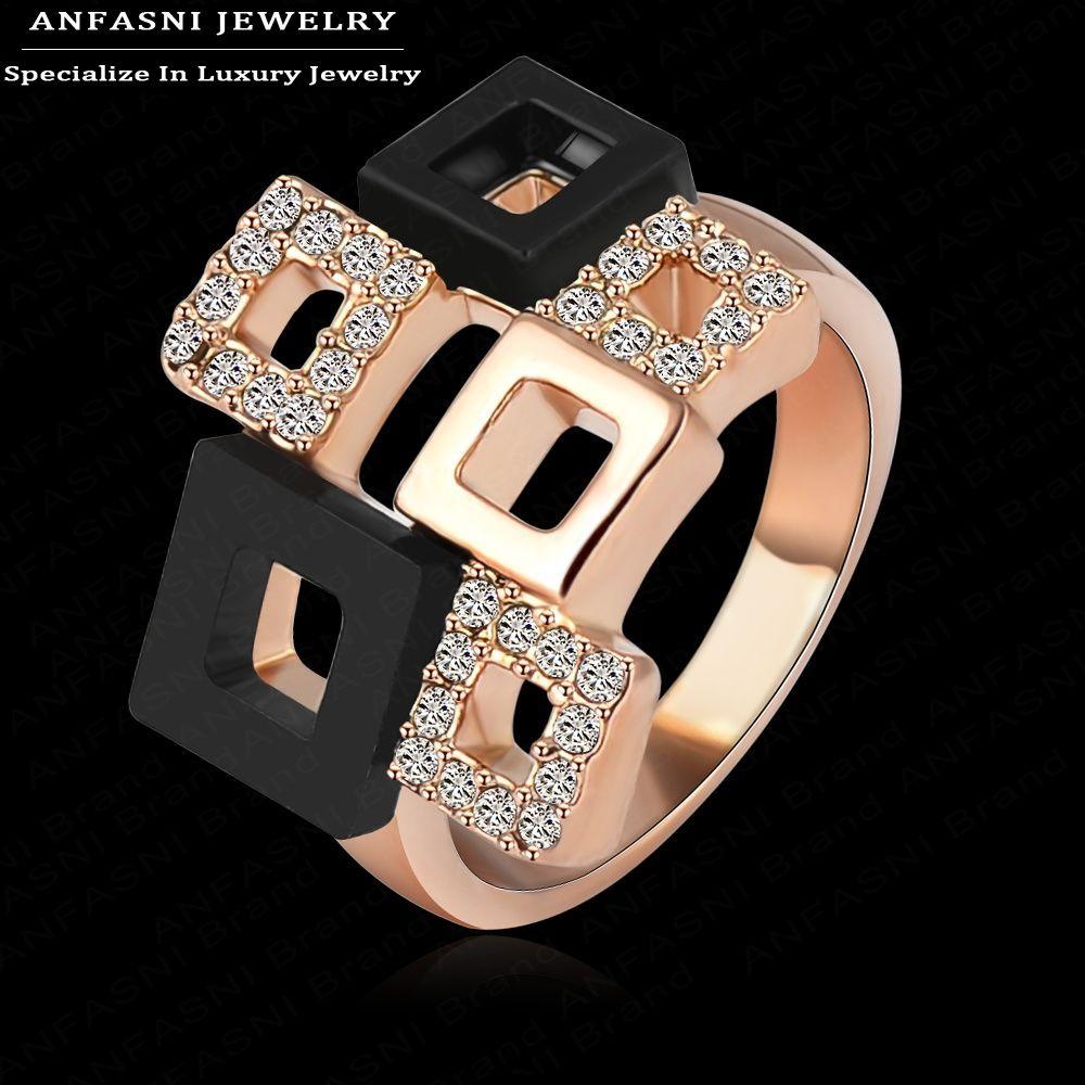 Anfasni Best продажи товаров квадратный Кольца уникальный Дизайн розовое золото натуральная SWA Stellux австрийского хрусталя Кольца Bijoux ri-hq1114