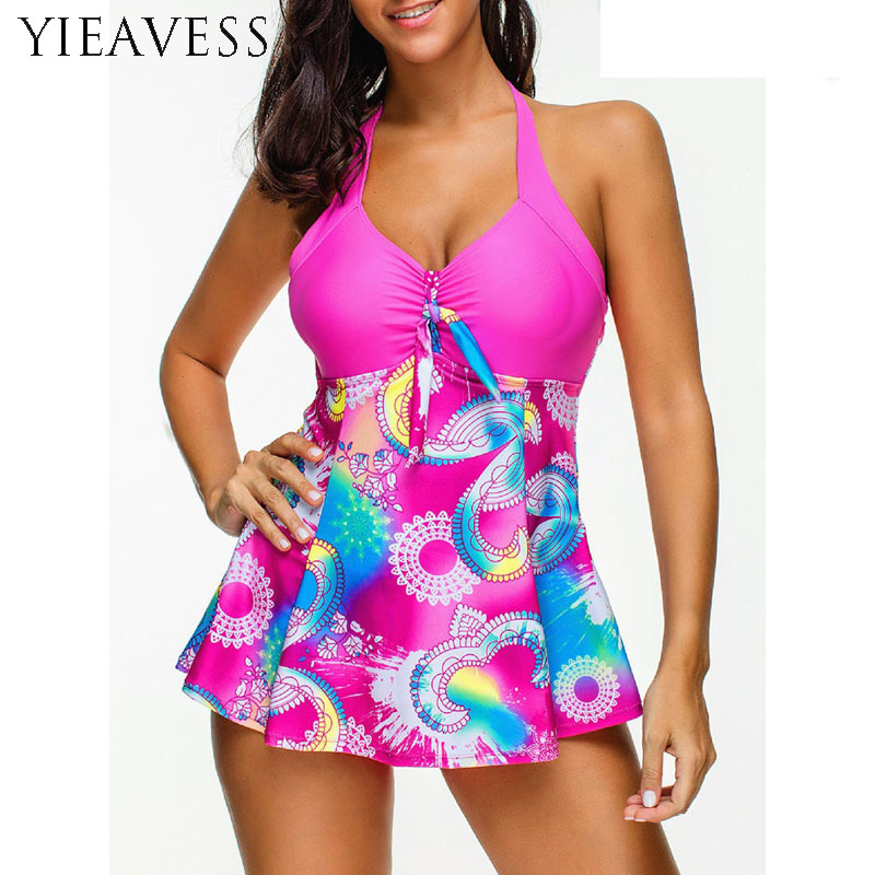 2018 Womens Sexy Halter Floral Print Swimwear Tankini Bathing Swimdress Swimsuit Plus Size Sexy Bikini Set