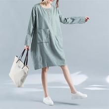 2018 New Korean Style Summer And Autumn Knee-length Dress Pinstriped Cotton  And Linen Blend bc6136c8cf99