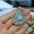 Wholesale Natural Unique Gold Plated Shine Druse Crystal Stone Pendant  Irregular Geode DIY Fit Necklace  For Jewelry Making