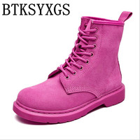 BTKSYXGS Lovers Women S Martin Boots 100 Genuine Leather 2017 New Spring Summer Autumn Winter Fashion