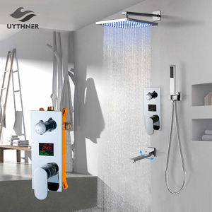 Image 1 - Uythner Wall Mount Bathroom Rain Waterfall Shower Faucets Set Concealed Chrome Shower System Bathtub Shower Mixer Faucet Tap