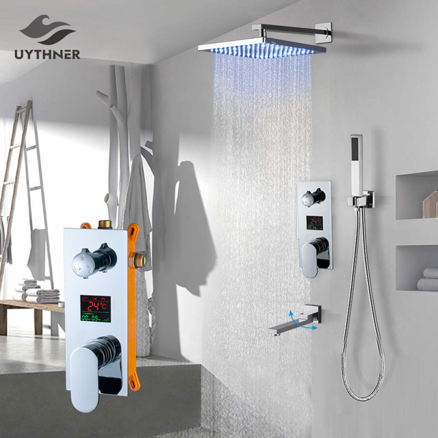 Uythner Wall Mount Bathroom Rain Waterfall Shower Faucets Set Concealed Chrome Shower System Bathtub Shower Mixer Faucet Tap