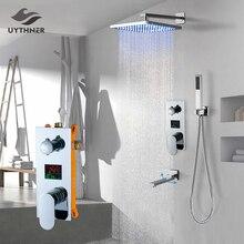Uythner ensemble de robinets mitigeurs de douche à montage mural, système encastré effet cascade, pour salle de bains, baignoire chromé