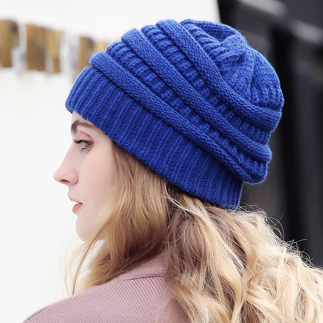 Drop Shipping Beanie Women Cap Hat Skully Trendy Warm Chunky Soft Stretch Cable  Knit Slouchy Beanie c0fe06ae212c