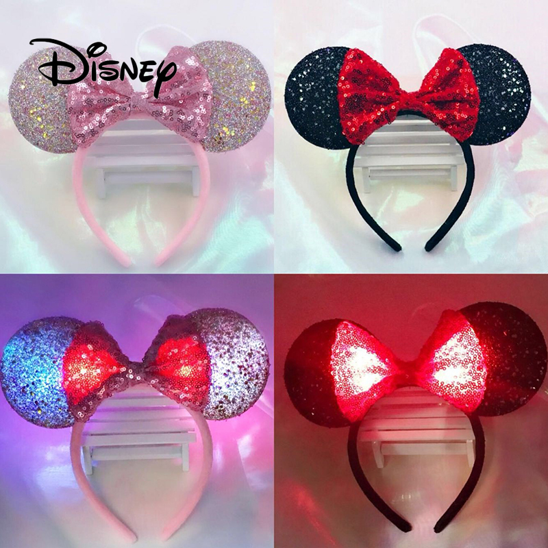 Disney Boutique Plush Accessories Hair Bands Girls Cartoon Illuminate Headband Girls Headwear Creative Party Toy Birthday