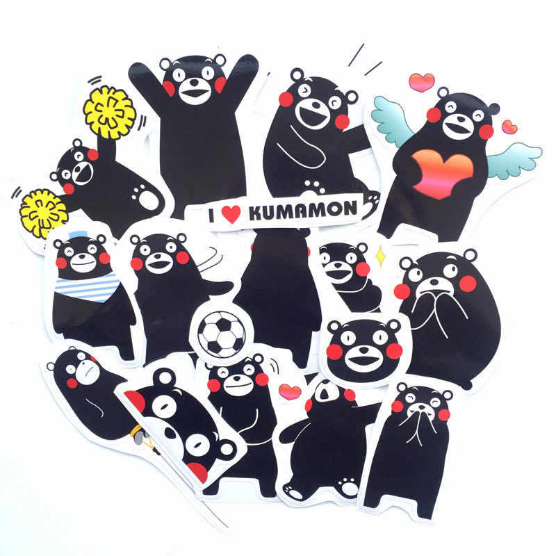 17pcs/lot Japan Cute Bear Kumamoto Cartoon Sticker For Car Laptop Luggage Skateboard Phone Decal Kids Toy Stickers