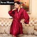 Mujeres Albornoz Bata De Seda Color Sólido Dama de Honor Batas de Manga larga Venta caliente Chino Kimono Albornoz Bata Batas de Novia de Seda AZ31