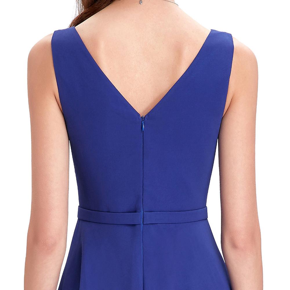 High Low Royal Blue Chiffon Short Front Long Back Bridesmaid Dress 7