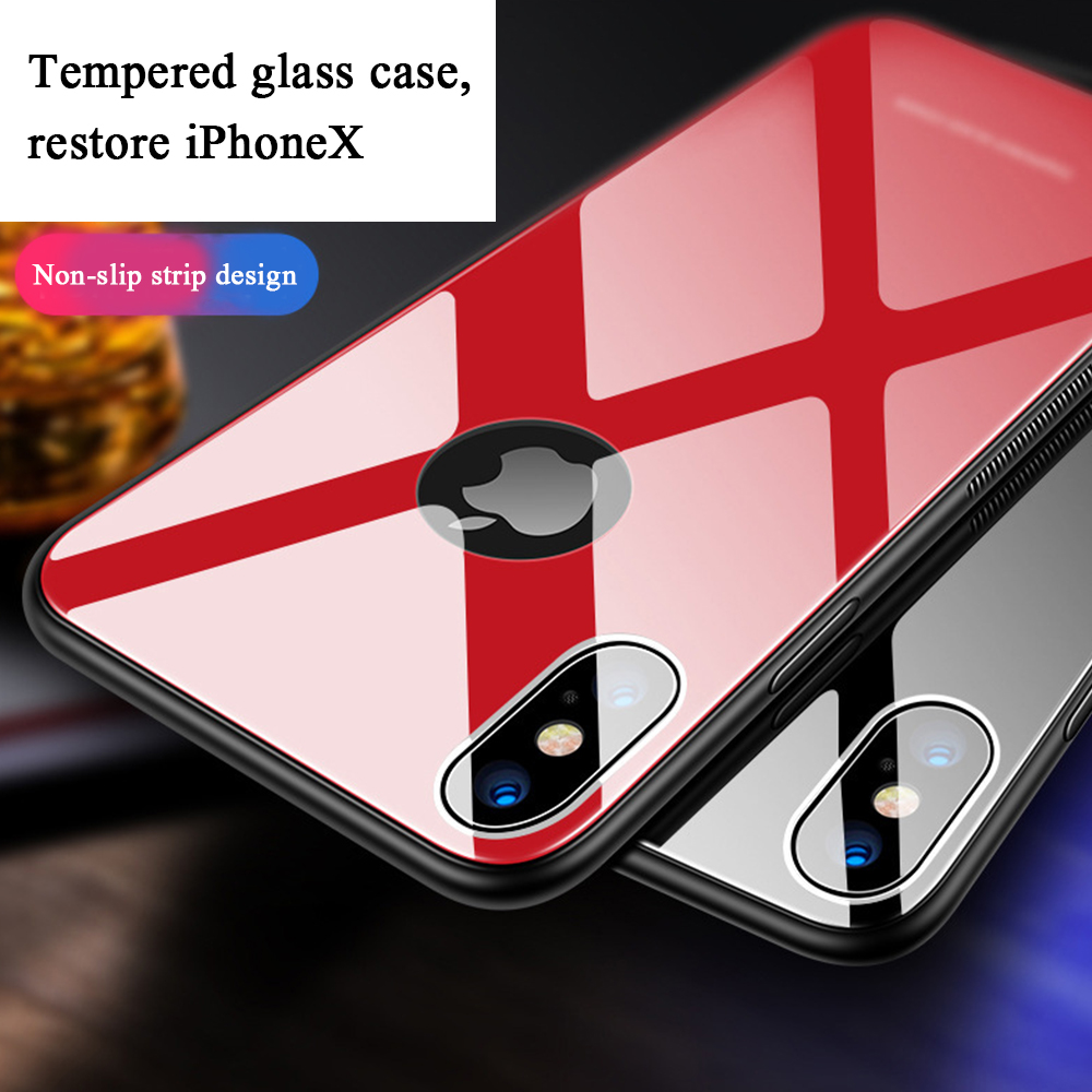 EKDME For iPhone XR 6.1 XS XS 5.8 Max 6.5 Glass Case For iPhone X 8 7 6 6S Plus Luxury Protective Back Cover Cases Fundas Coque
