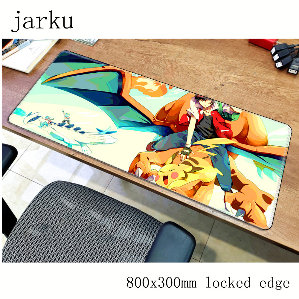 Pokemons mouse pad 800x300X2MM mouse mat laptop padmouse locked edge notbook computer gaming mousepad cute gamer play mats 3