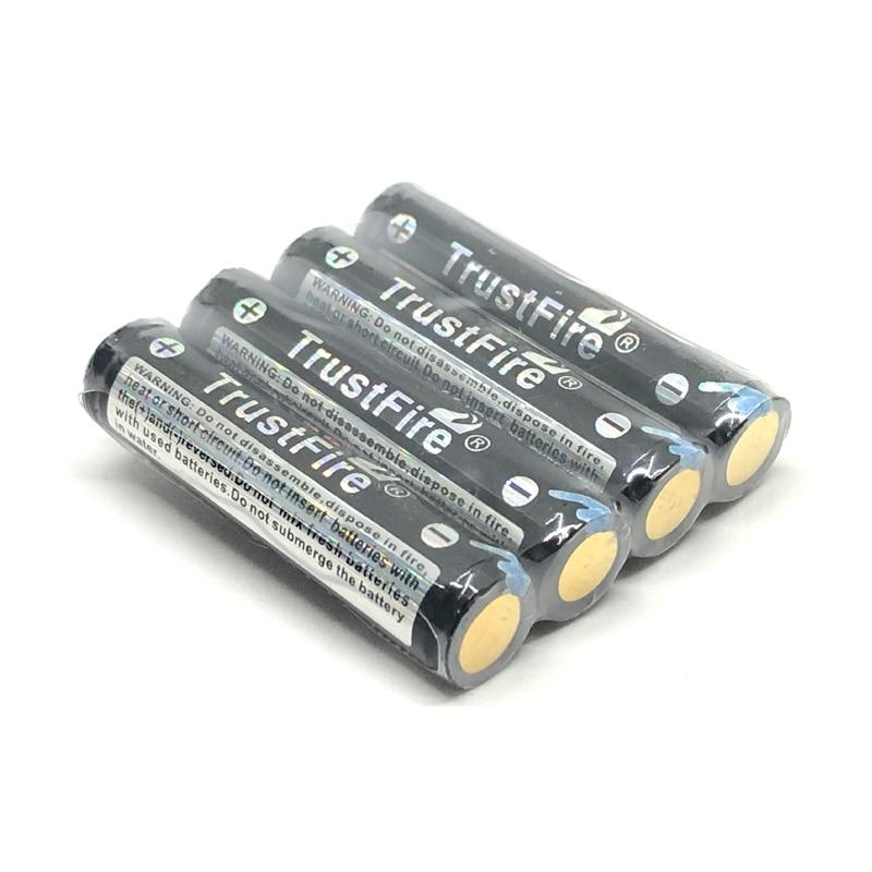 4 pçs/lote TrustFire 10440 600 mah 3.7 V Baterias de Iões de lítio Bateria Recarregável com protegido borad