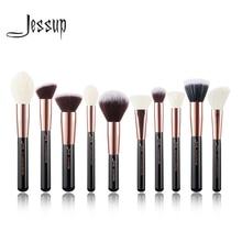 Conjunto de pincéis de contorno jessup, pincéis de maquiagem rosê gold/preto para cosméticos, pó, blush para contorno, 10 peças