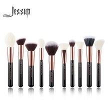 Jessup borstels 10 pcs Rose gold/Zwart Gezicht Make Up kwasten set beauty Cosmetische Make up brush Contour Poeder blush