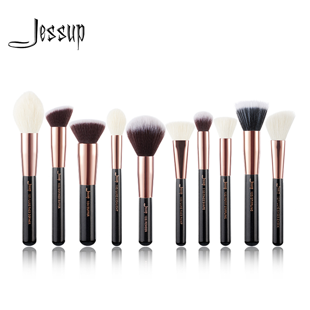 Jessup brushes 10pcs Rose gold / Black Face Makeup brushes set beauty Cosmetic Make up brush Contour Powder blush gujhui 10pcs makeup brushes set cosmetic face foundation powder eyeshadow blush blending contour make up brush with puff and bag