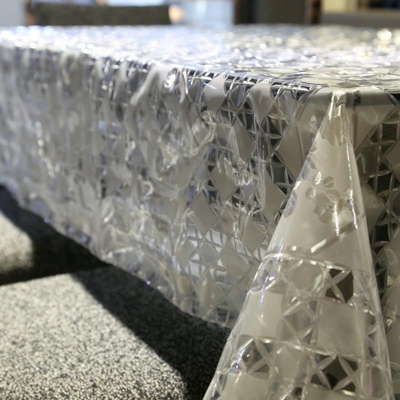 Karšto pardavimo baltas ir skaidrus plaid stalo audinys PVC aliejus - Namų tekstilė - Nuotrauka 4