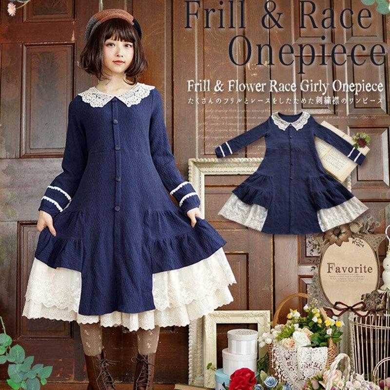 Mori Girl Sweet Dress Women Harajuku Solid Blue Red Peter Pan Collar Femmes Cute Cotton Lolita
