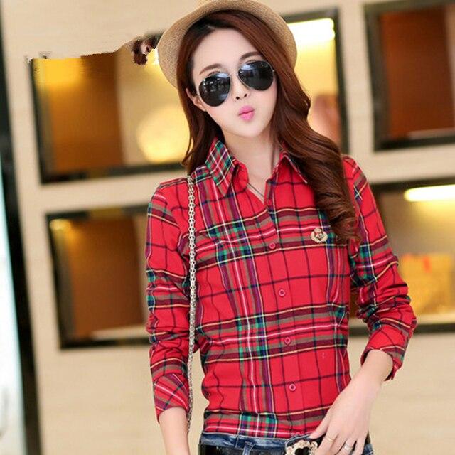 Plus Size M-XXL 2017 Hot Ladies Blouses Summer Casual Cotton Long Plaid Shirts Women Cotton Blusas Femininas Women Tops 6688