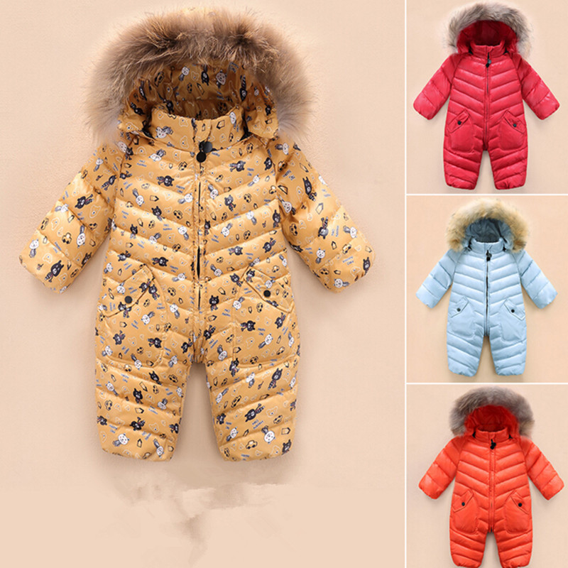 b98a69c91962 2017 Newest Baby snowsuit newborn white duck down jumpsuit Infant ...