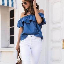 Women Vintage One Off cold shoulder Denim Solid Blue Blouse Ruffle Summer Slash Neck Casual Loose Top 2019 Office Tunic Shirt ruffle detail solid tunic top