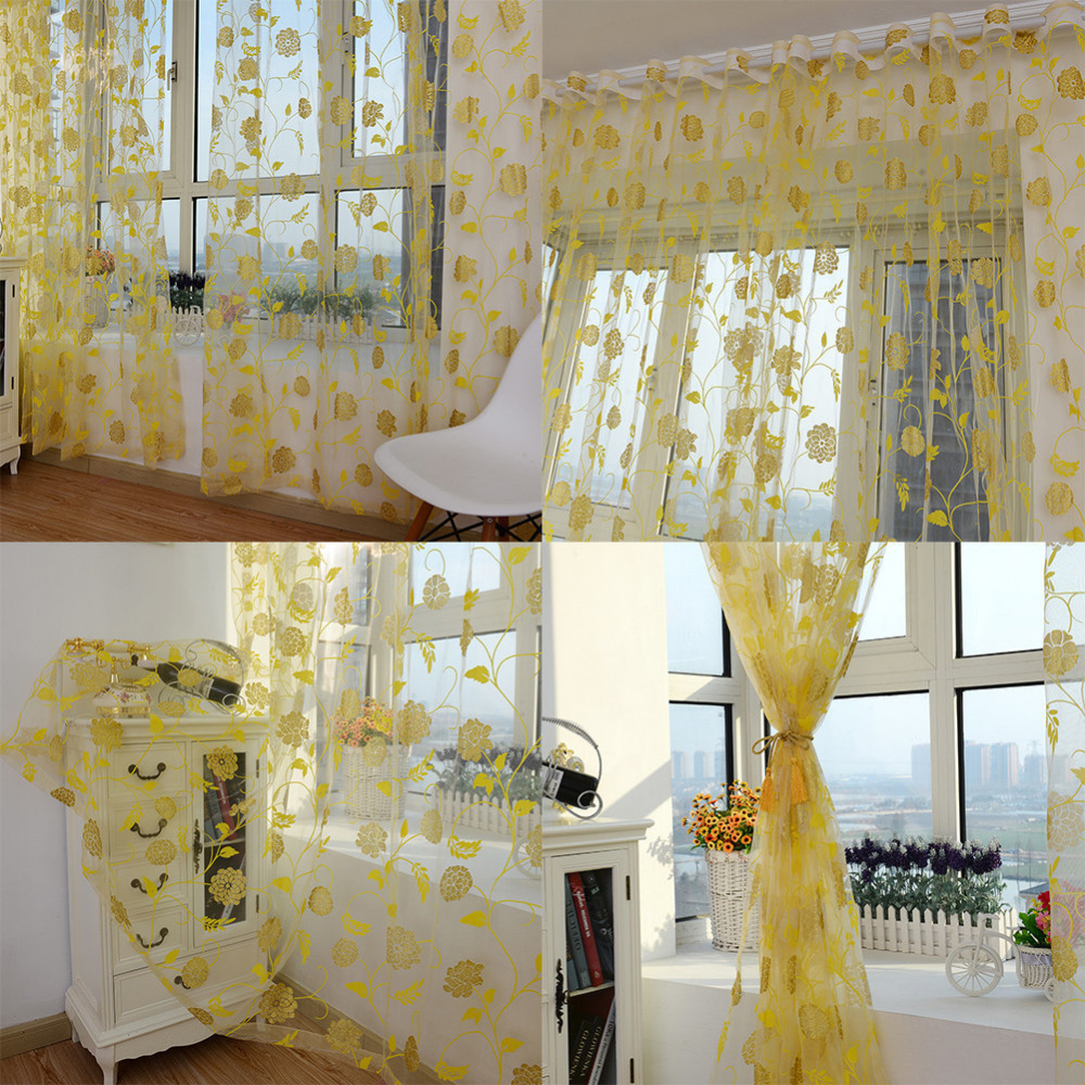 New Arrival 1pcs 100*200cm Beautiful Translucent Curtain ...