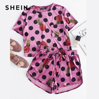 SHEIN Glitter Two Piece Set Mixed Print Velvet Top And Knot Front Shorts Co Ord Polka
