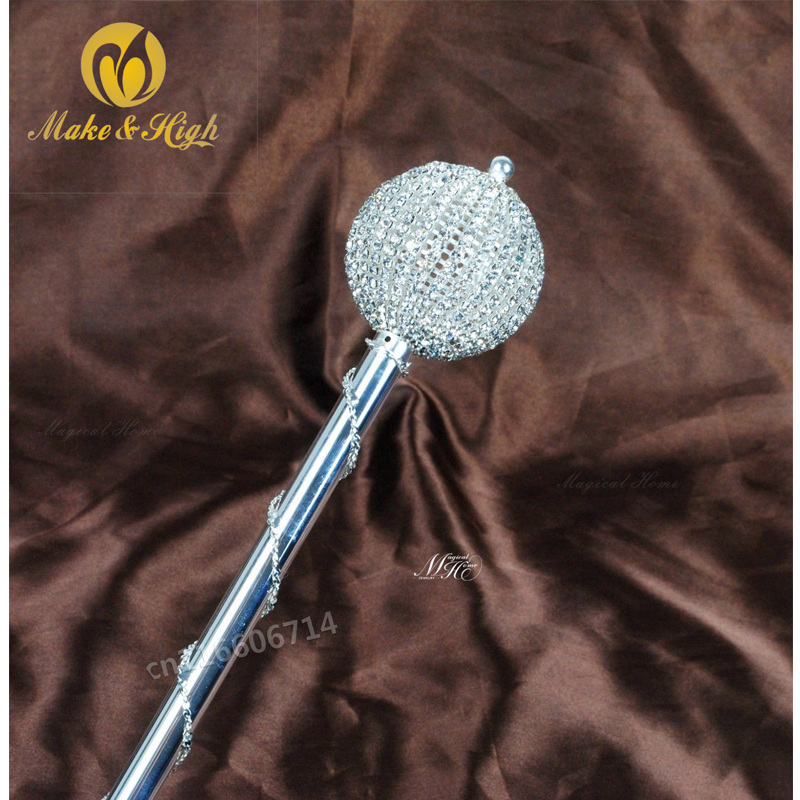 Miss Beauty Pageant Scepter Wand Crystal Handmade Sceptre Staff Wedding Bridal Prom Party Costumes Accessories Handheld