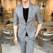 custom S-2XL Mens Wear Summer 2019 New Middle Sleeve Suit Stripe Jacket+pants Two-piece Fashion Men Slim