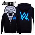 Jolintsai 2017 Hoody Hoodies Men Winter Jackets and Coats Faded Alan Walker Hoodie M-5XL Luminous Thick Zipper Men Sweatshirts