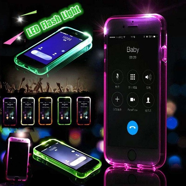 brand new dc975 2b005 US $1.64 |TPU Flash Back Cover For iPhone X 7 8 LED Call Light Case For  iPhone 8 7 6 6S Plus Phone Cases Shells protective Cover Anti knoc-in  Fitted ...