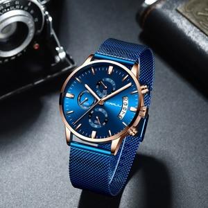 Image 5 - Relogio Masculino CRRJU جديد العلامة التجارية الفاخرة ساعة الذكور موضة ساعة كورتز العارضة الرجال الفولاذ المقاوم للصدأ الأزرق مقاوم للماء ساعة