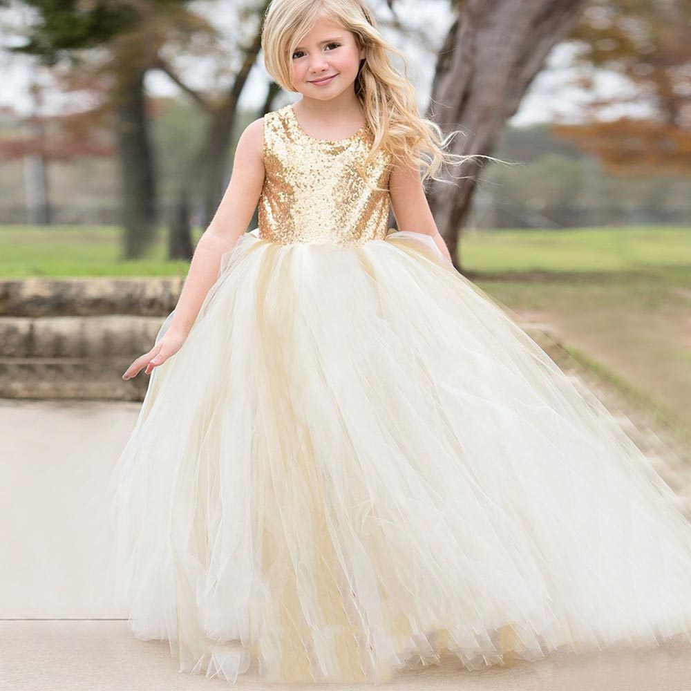Shiny Sequins Girls Pageant Gown Crew Neck Sleeveless Ball Gown Flower Girl Dresses for Wedding with Sash cute sleeveless sequins embellish multilayered girl s ball gown dress