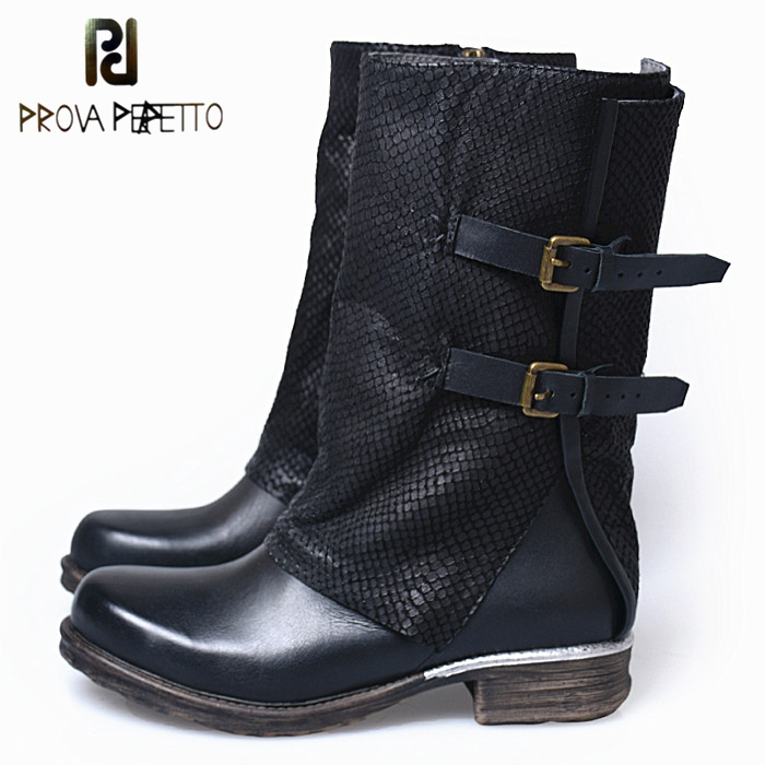 Prova Perfetto Women Square Toe Low Heel Warm Plush In Motorcycle Boots Woman Retro Genuine Leather Belt Buckle Botas Mujer prova perfetto winter women warm snow boots buckle straps genuine leather round toe low heel fur boots mid calf botas mujer