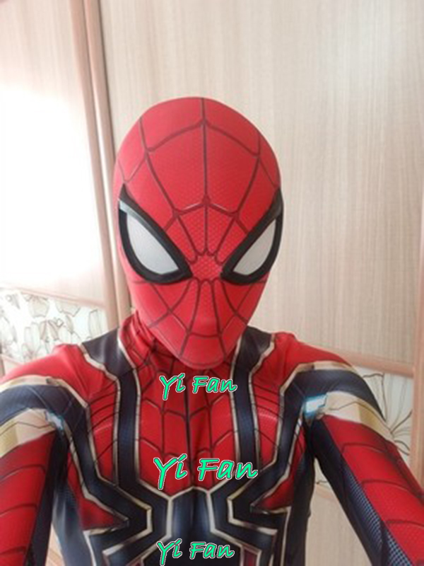 Iron Spider Spiderman Costume 3D Print Spandex Zentai Bodysuit Cosplay Spider-Man Superhero Halloween Costume for kids Adult
