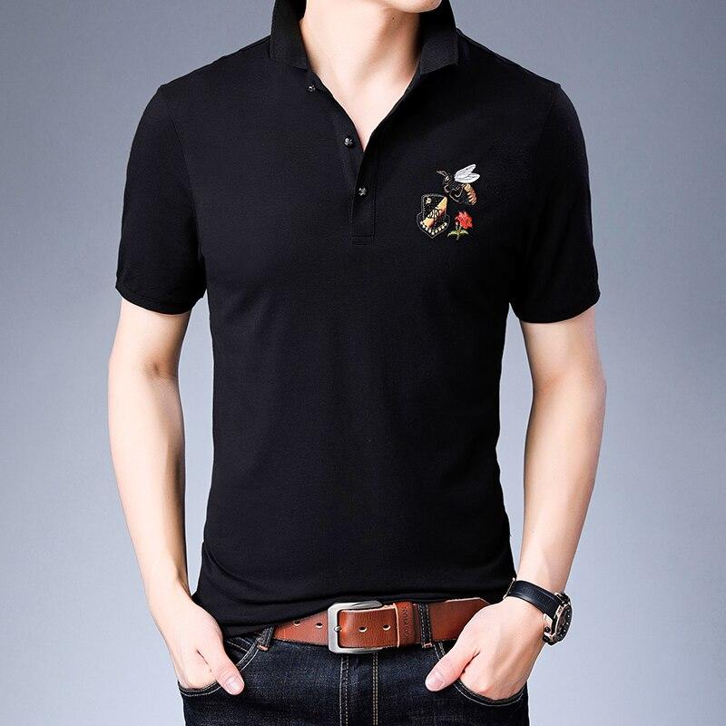 2019 nouveau Polo chemise hommes coton respirant bonne qualité broderie col rabattu affaires à manches courtes été G1614