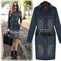 2015 осень-женщин мм Большой размер джинсовой мода основной тонкие бедра с длинными рукавами платье