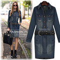 2015 autumn female mm Plus size plus size  denim fashion basic slim hip long-sleeve dress